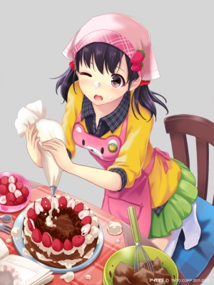Anime CG Anime Pictures      183197  669823   ( Anime CG Anime Pictures      ) 183197  художник : Occhan apron black hair blush book cake cooking food pillow red eyes short skirt twin tails wink картинка аниме anime picture