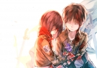 Shingeki no Kyojin : Eren Yeager Mikasa Ackerman 183155 black hair brown flower jacket sad scarf short sword uniform картинка аниме anime picture