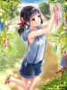 Anime CG Anime Pictures      183191 black hair blush red eyes ribbon sandals short shorts sky smile twin tails картинка аниме anime picture