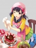 Anime CG Anime Pictures      183197 apron black hair blush book cake cooking food pillow red eyes short skirt twin tails wink картинка аниме anime picture