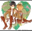 Shingeki no Kyojin : Levi Petra Ral 183366 birthday black eyes hair boots brown couple garter jacket orange short smile uniform картинка аниме anime picture