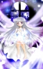 Anime CG Anime Pictures      183439 barefoot dress grey hair jewelry long moon purple eyes картинка аниме anime picture