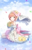 Love Live! School Idol Project : Hoshizora Rin 183447 blush choker crying dress flower gloves green eyes headdress jewelry orange hair ribbon short sky smile water картинка аниме anime picture