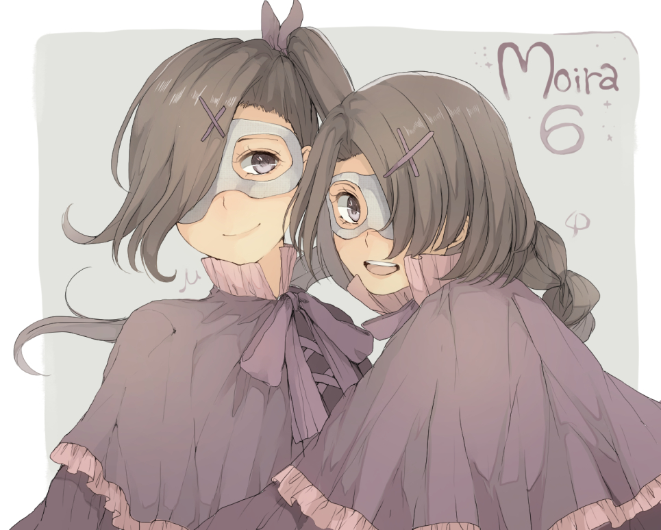 Sound, Horizon, Mu, Phi, black, hair, braids, cloak, gloves, hairpins, happy, long, mask, purple, eyes, ribbon, side, tail, smile, twins, картинка, аниме, anime, picture, картинки, |, разные, красивые, pictures