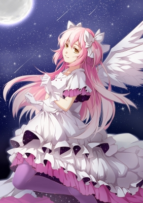 Puella Magi Madoka Magica : Ultimate Madoka 183664  670306  puella magi madoka magica  ultimate madoka   ( Anime CG Anime Pictures      ) 183664  художник : ello chan brown eyes dress gloves long hair mahou shoujo moon pink ribbon smile twin tails wings картинка аниме anime picture