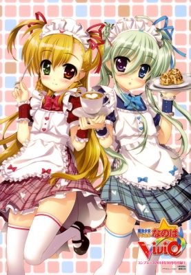 Mahou Shoujo Lyrical Nanoha StrikerS : Einhart Stratos Vivio 183712  670349  mahou shoujo lyrical nanoha strikers  einhart stratos vivio   ( Anime CG Anime Pictures      ) 183712  художник : Fujima Takuya ahoge beverage blonde hair blue eyes blush green headdress heart heterochromia long purple red ribbon smile sweets thigh highs twin tails waitress картинка аниме anime picture