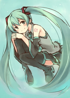 Vocaloid : Hatsune Miku 183819  670462  vocaloid  hatsune miku   ( Anime CG Anime Pictures      ) 183819  художник : Kyuri boots green eyes hair long skirt smile tattoo tie twin tails картинка аниме anime picture