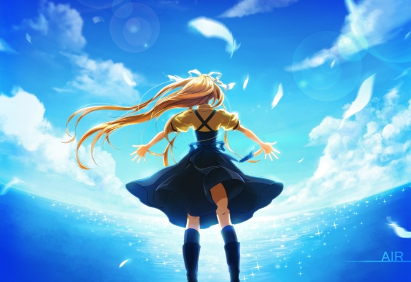 Air : Kamio Misuzu 183833  670479  air  kamio misuzu   ( Anime CG Anime Pictures      ) 183833  художник : Momopanda blonde hair boots dress feather long ponytail ribbon seifuku sky картинка аниме anime picture