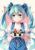 Vocaloid : Hatsune Miku 183665 birthday blue eyes hair blush cake dress eating heart long ribbon twin tails картинка аниме anime picture