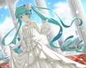 Vocaloid : Hatsune Miku 183668 blush dress gloves green eyes hair jewelry long ribbon sky smile twin tails картинка аниме anime picture
