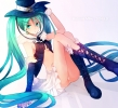 Vocaloid : Hatsune Miku 183694 boots gloves green eyes hair hat long nail polish skirt twin tails картинка аниме anime picture
