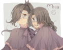 Sound Horizon : Mu Phi 183710 black hair braids cloak gloves hairpins happy long mask purple eyes ribbon side tail smile twins картинка аниме anime picture