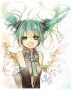 Vocaloid : Hatsune Miku 183748 blush flower green eyes hair happy headphones long tie twin tails wings картинка аниме anime picture