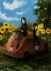 Anime CG Anime Pictures      183752 black hair brown eyes flower grey long pantyhose seifuku short sky surprised tree vehicle картинка аниме anime picture