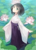 Anime CG Anime Pictures      183759 black hair blush flower green eyes hakama short water картинка аниме anime picture