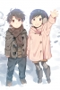 Aldnoah.Zero : Kaizuka Inaho Kaizuka Yuki 183842 ahoge black hair blush boots brown eyes child gloves happy holding hands jacket pants purple short skirt winter картинка аниме anime picture