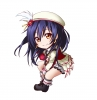 Love Live! School Idol Project : Sonoda Umi 183858 blue hair boots chibi hat jewelry long orange eyes skirt smile tie картинка аниме anime picture