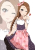 The Idolmaster : Minase Iori 183861 apron blush braids brown hair dress flower band happy heart long red eyes ribbon wink картинка аниме anime picture