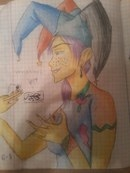 Joker, Girl, рисунок, шут, джокер, девочка, цветной, KatyurArt