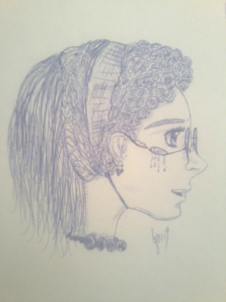 Очкарик, рисунок, нецветной, профиль, очки, мэганэкко, KatyurArt
