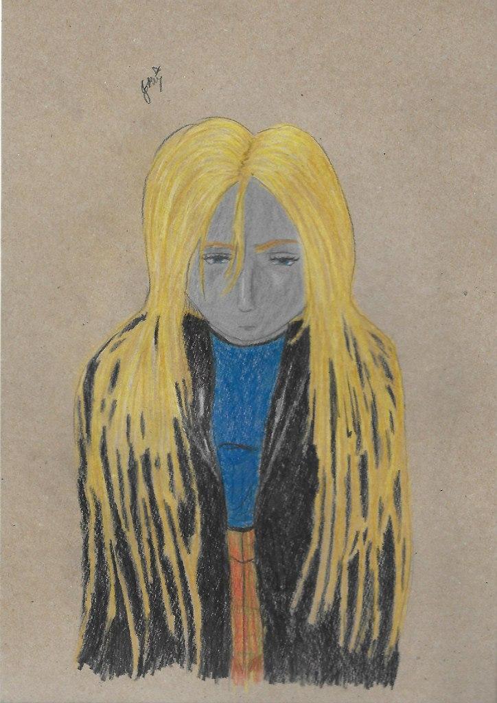 Автопортрет, рисунок, цветной, портрет, крафт-бумага, KatyurArt