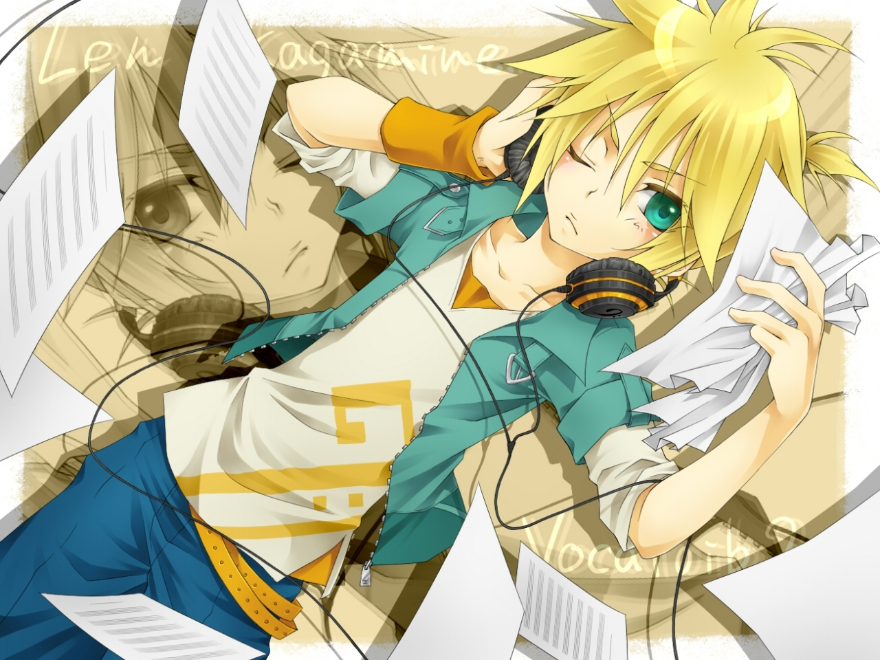 Brown hair anime boy with headphones