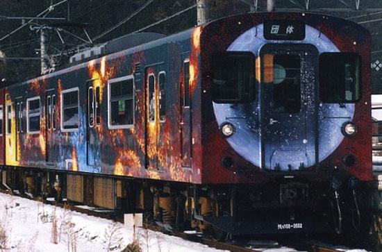 """Поезд Ёко """"Галактическое путешествие"""", на линии Какогава в префектуре Хёго"""