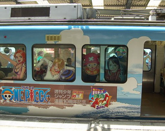 """поезд в стиле """"One-Piece"""", ЖД Эношима электрикс"""